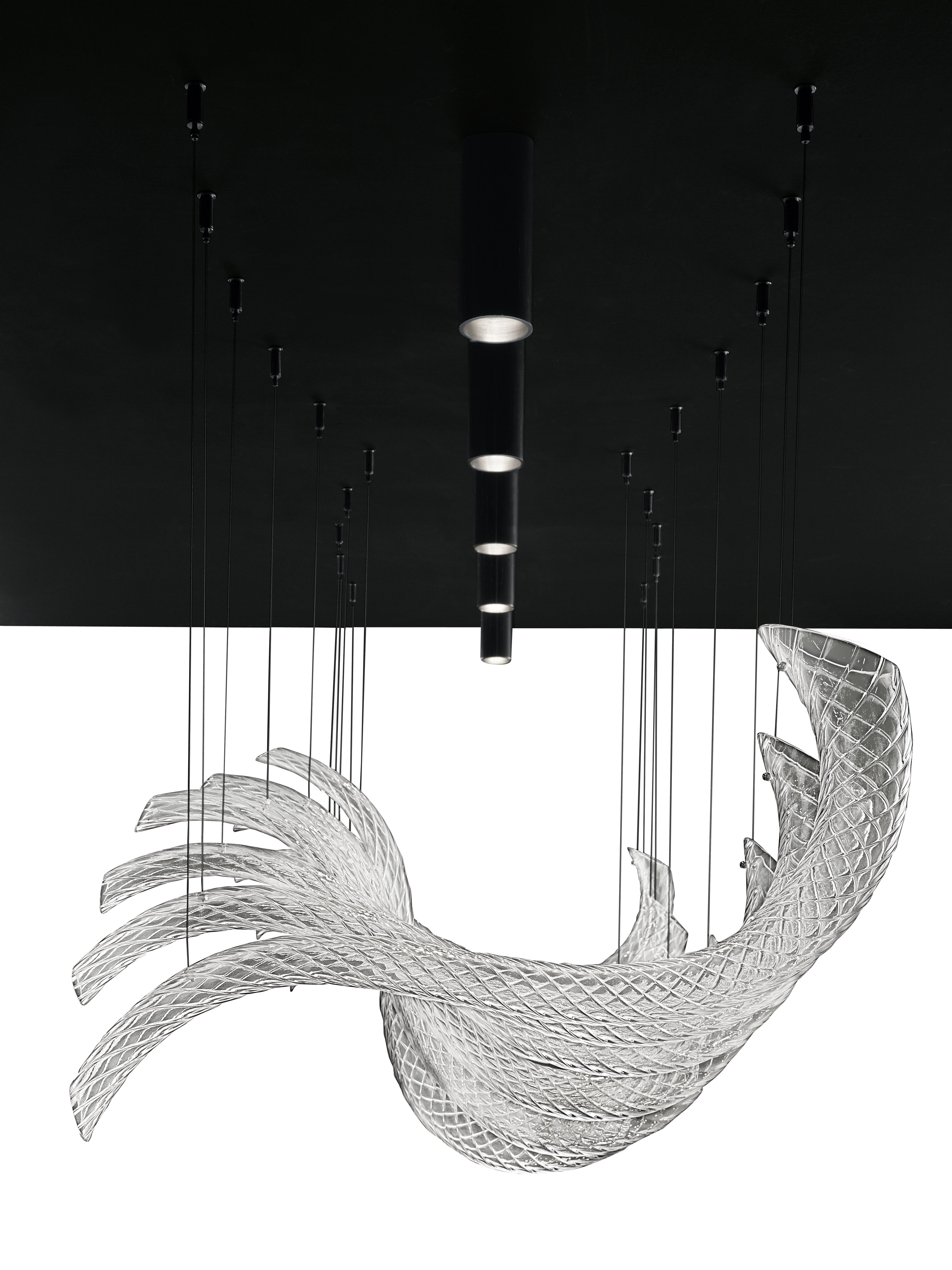 Swing7330 Suspension Lamp in Glass with Polished Chrome Finish, by Barovier&Toso