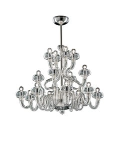 Bissa Boba 6753 16 Chandelier in Chrome, by Angelo Barovier and Barovier&Toso