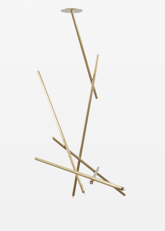 For Sale: Gold (Burnished Brass) 6-Stick Chandelier in Brass by Cam Crockford 2