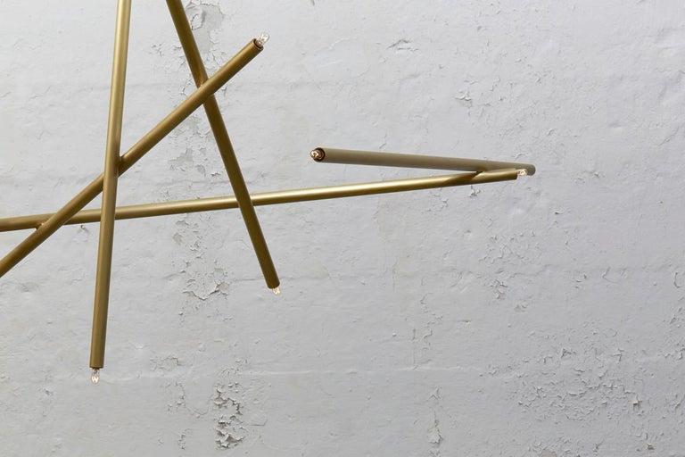 For Sale: Gold (Burnished Brass) 6-Stick Chandelier in Brass by Cam Crockford 4