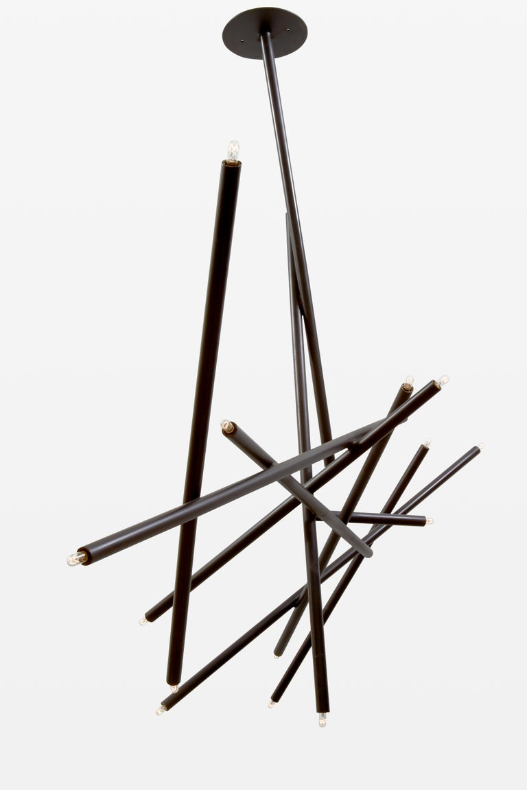 For Sale: Black (Blackened Brass) 10-Stick Chandelier in Brass by Cam Crockford 2