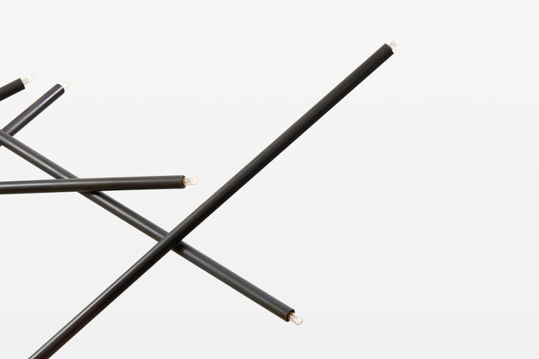For Sale: Black (Blackened Brass) 10-Stick Chandelier in Brass by Cam Crockford 3