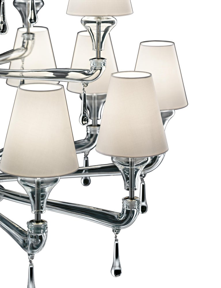 For Sale: Clear (Crystal_CC) Nevada 5549 24 Chandelier in Glass with White Shade, by Barovier&Toso 2