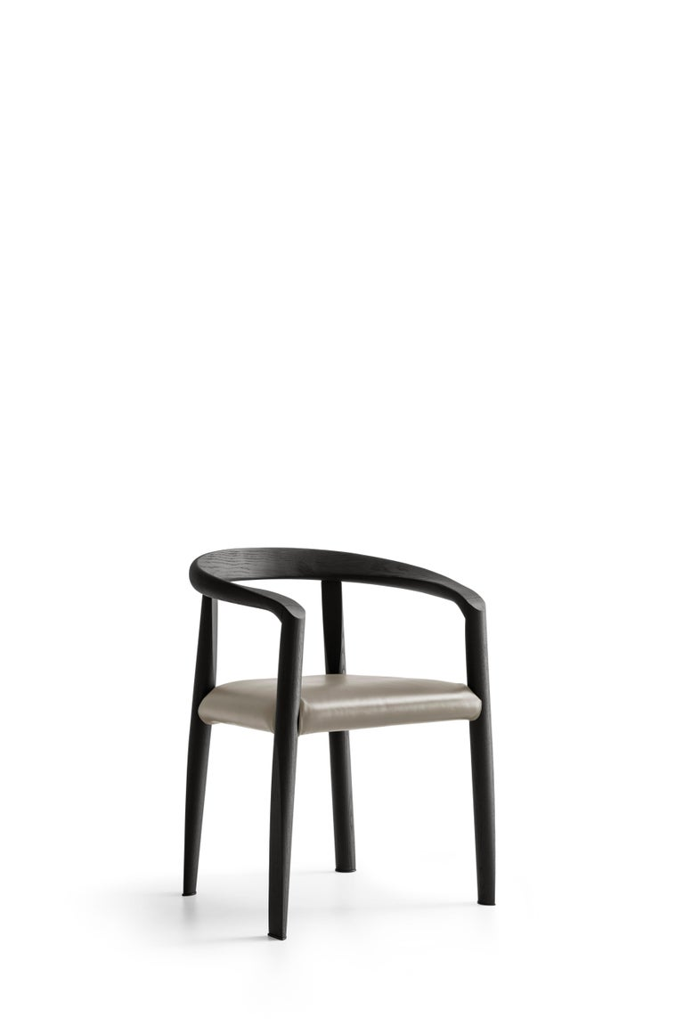 For Sale: Beige (L209_Taupe) Molteni&C Miss Leather Semi-Upholstered Chair in Black Wood by Tobia Scarpa 2