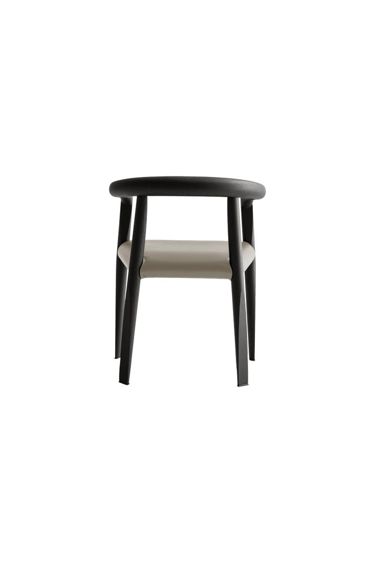 For Sale: Beige (L209_Taupe) Molteni&C Miss Leather Semi-Upholstered Chair in Black Wood by Tobia Scarpa 3