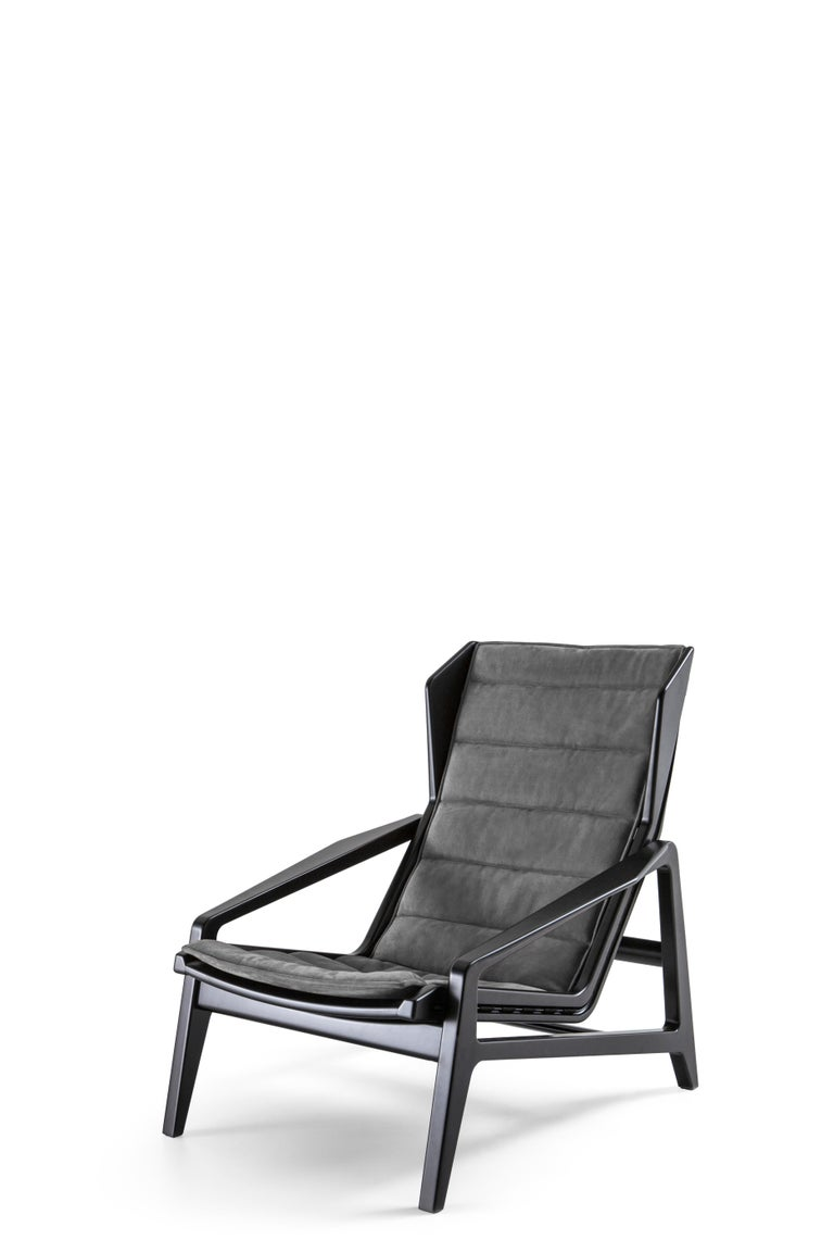 For Sale: Black (K3732_Anthracite) Molteni&C D.156.3 Armchair in Glossy Black Lacquered Wood & Chenille, Gio Ponti 2