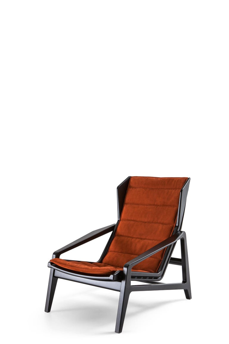 For Sale: Brown (SD974_Rust) Molteni&C D.156.3 Armchair in Glossy Black Laquered Wood & Leather by Gio Ponti 2
