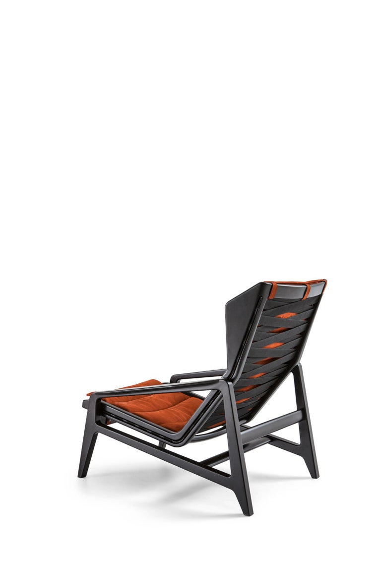 For Sale: Brown (SD974_Rust) Molteni&C D.156.3 Armchair in Glossy Black Laquered Wood & Leather by Gio Ponti 4