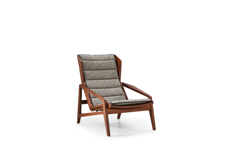 For Sale: Gray (WD142_Green) Molteni&C D.156.3 Armchair in American Walnut Structure and Canvas by Gio Ponti 2