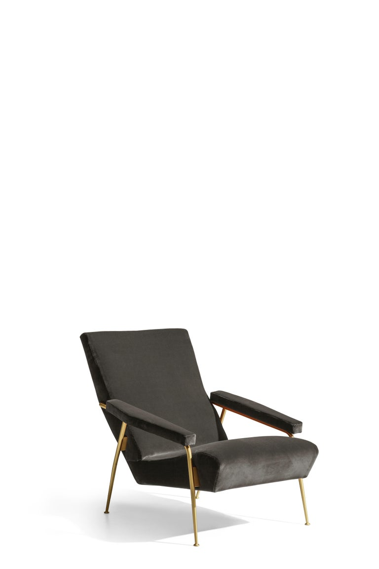 For Sale: Black (W6296_Anthracite) Molteni&C D.153.1 Armchair in Velvet by Gio Ponti 2