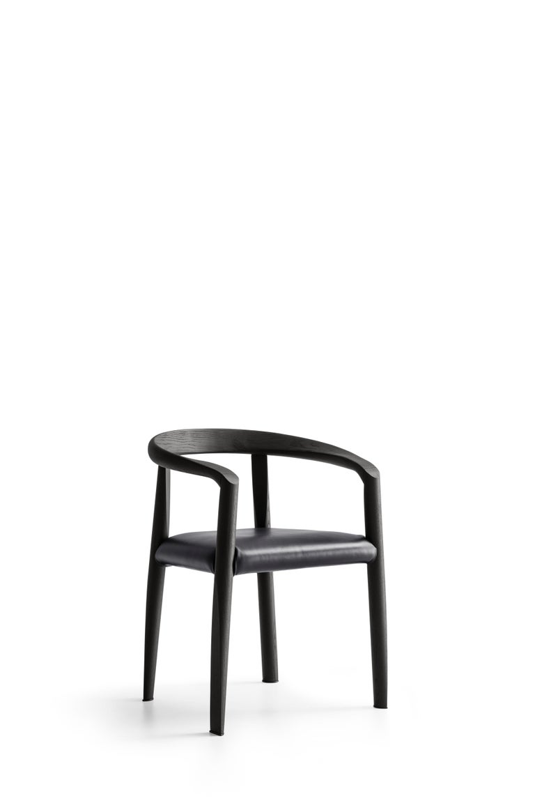For Sale: Black (L200+L200_Black) Molteni&C Miss Leather Upholstered Dining Chair in Black Ashwood by Tobia Scarp 2