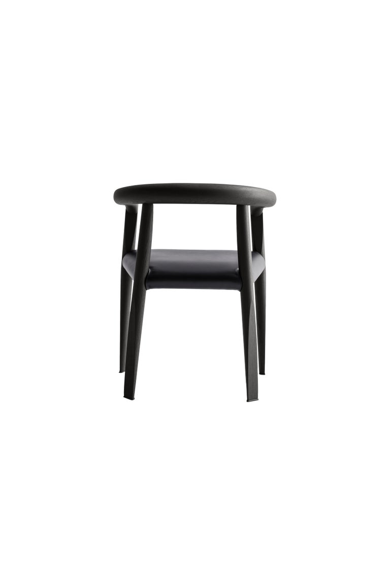 For Sale: Black (L200+L200_Black) Molteni&C Miss Leather Upholstered Dining Chair in Black Ashwood by Tobia Scarp 3