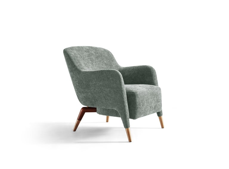 For Sale: Gray (WF580_Light Grey) Molteni&C D.151.4 Armchair in Linen Fabric by Gio Ponti 2