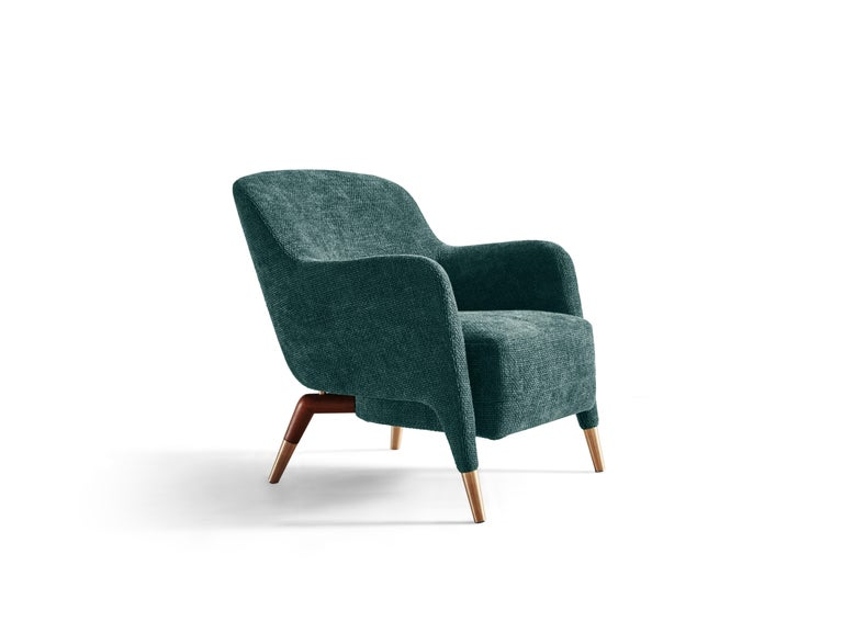 For Sale: Blue (ZF688_Petroleum) Molteni&C D.151.4 Armchair in Boucle Fabric by Gio Ponti  2