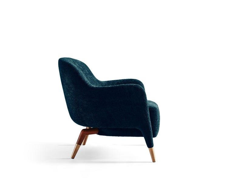 For Sale: Blue (W6281_Blue) Molteni&C D.151.4 Armchair in Velvet by Gio Ponti 3
