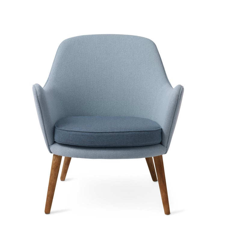 For Sale: Blue (Merit014/Rewool 768) Dwell Lounge Chair, by Hans Olsen from Warm Nordic