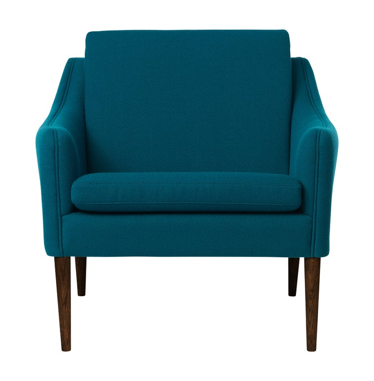 For Sale: Blue (Vidar872) Mr. Olsen Lounge Chair with Walnut Legs, by Hans Olsen from Warm Nordic