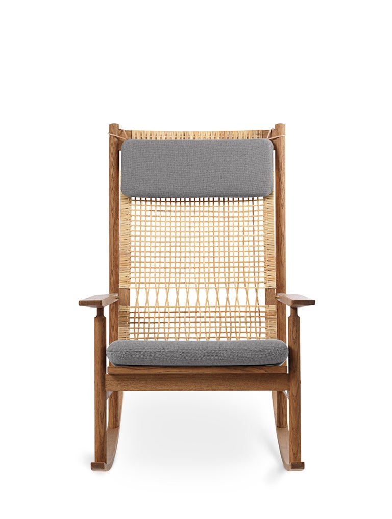 For Sale: Gray (Rewool 128) Swing Rocking Chair in Teak, by Hans Olsen from Warm Nordic