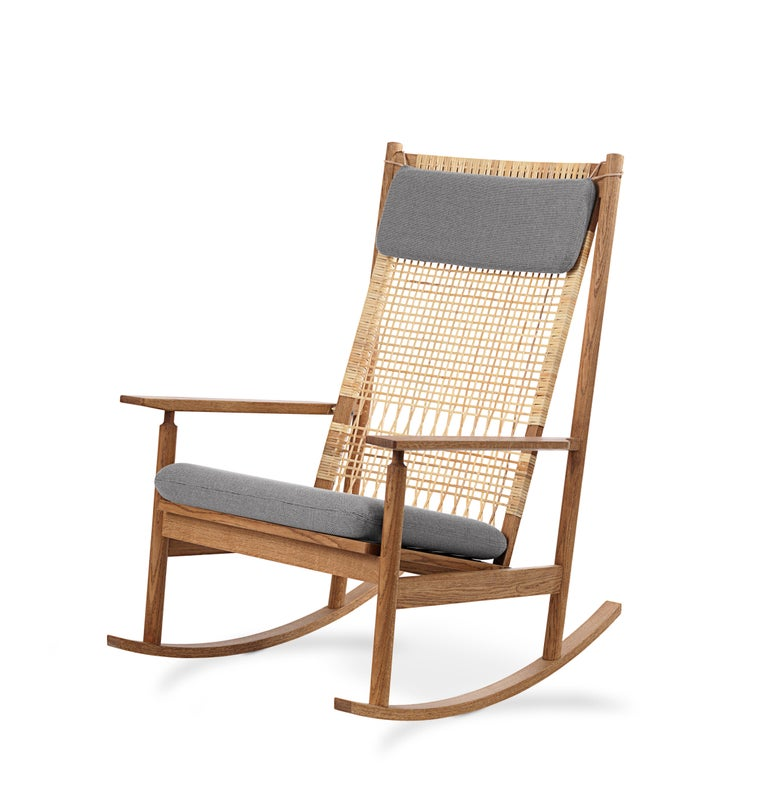 For Sale: Gray (Rewool 128) Swing Rocking Chair in Teak, by Hans Olsen from Warm Nordic 2