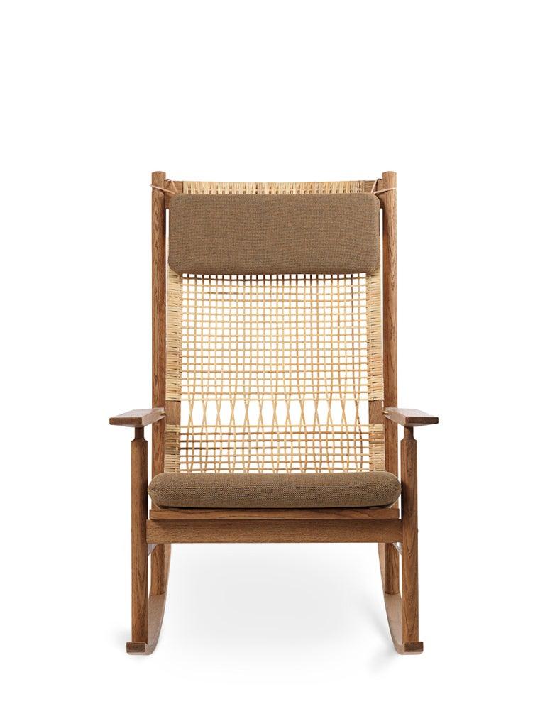 For Sale: Brown (Rewool 358) Swing Rocking Chair in Teak, by Hans Olsen from Warm Nordic