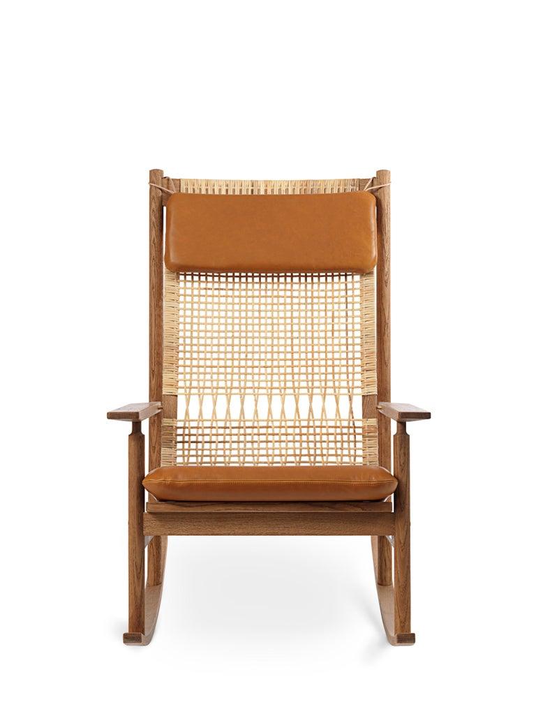 For Sale: Brown (Silk 0250) Swing Rocking Chair in Teak, by Hans Olsen from Warm Nordic