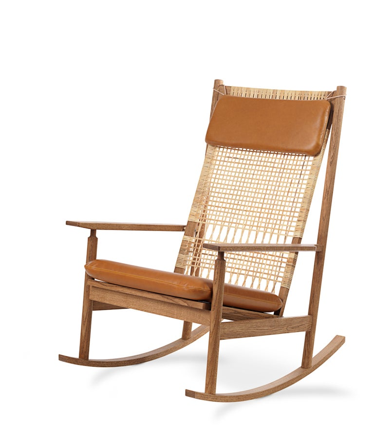 For Sale: Brown (Silk 0250) Swing Rocking Chair in Teak, by Hans Olsen from Warm Nordic 2