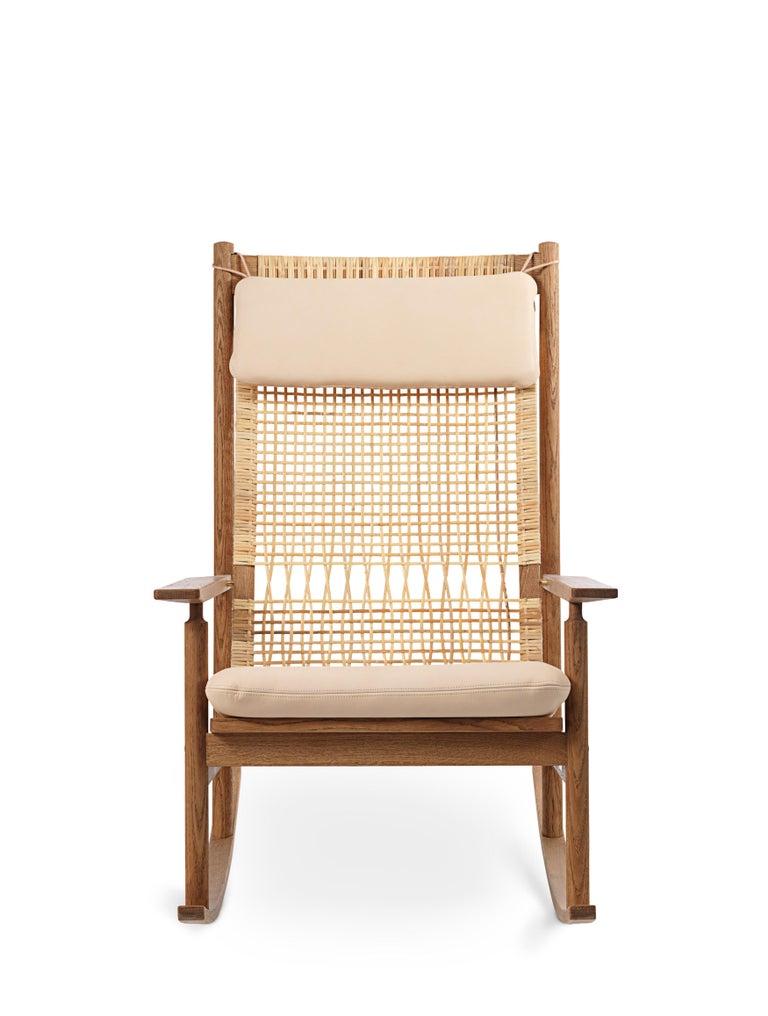 For Sale: Pink (Vegetal 090) Swing Rocking Chair in Teak, by Hans Olsen from Warm Nordic