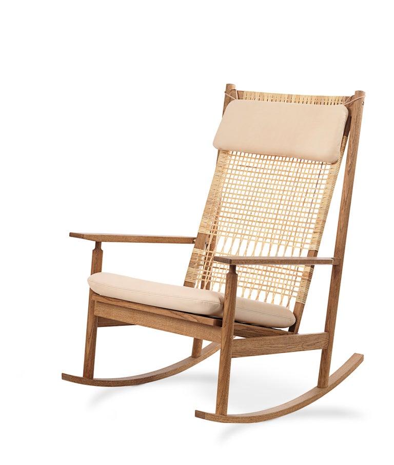 For Sale: Pink (Vegetal 090) Swing Rocking Chair in Teak, by Hans Olsen from Warm Nordic 2