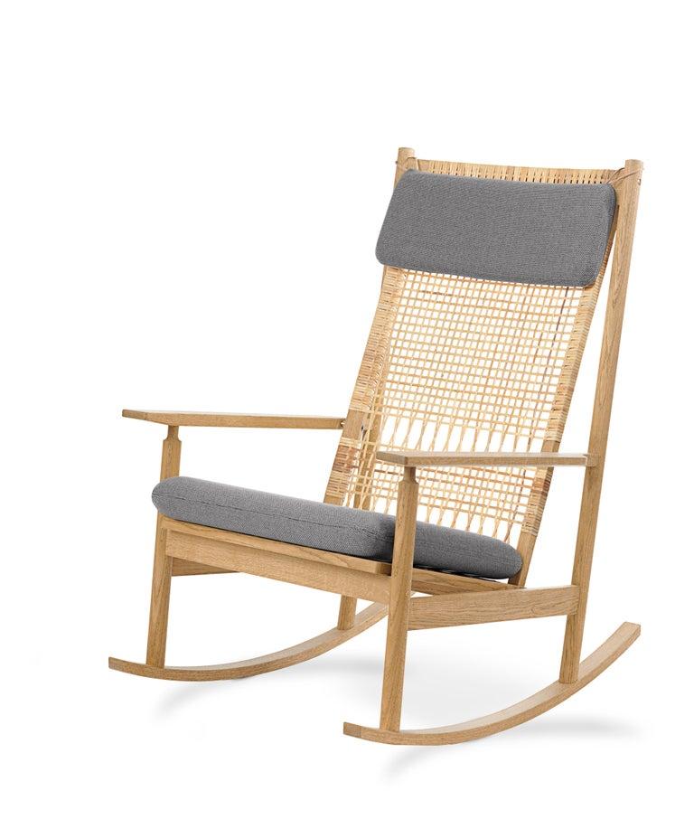 For Sale: Gray (Rewool 128) Swing Rocking Chair in Oak, by Hans Olsen from Warm Nordic 2