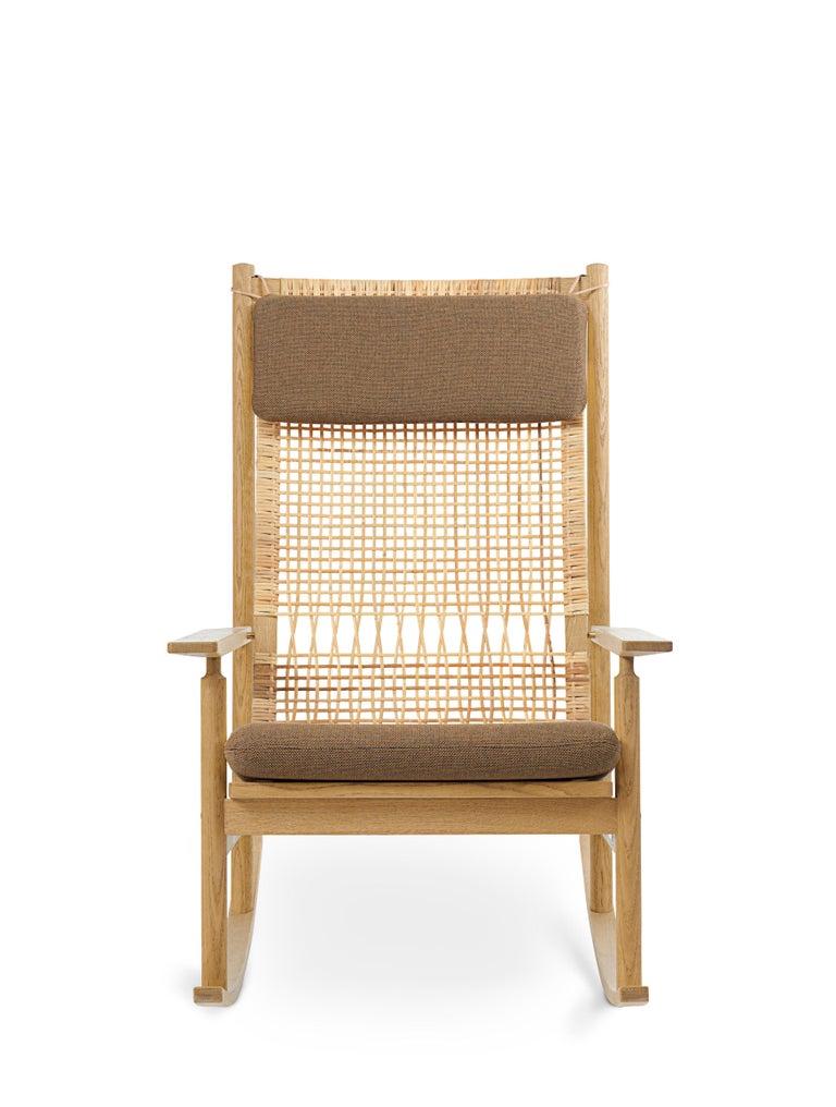 For Sale: Brown (Rewool 358) Swing Rocking Chair in Oak, by Hans Olsen from Warm Nordic