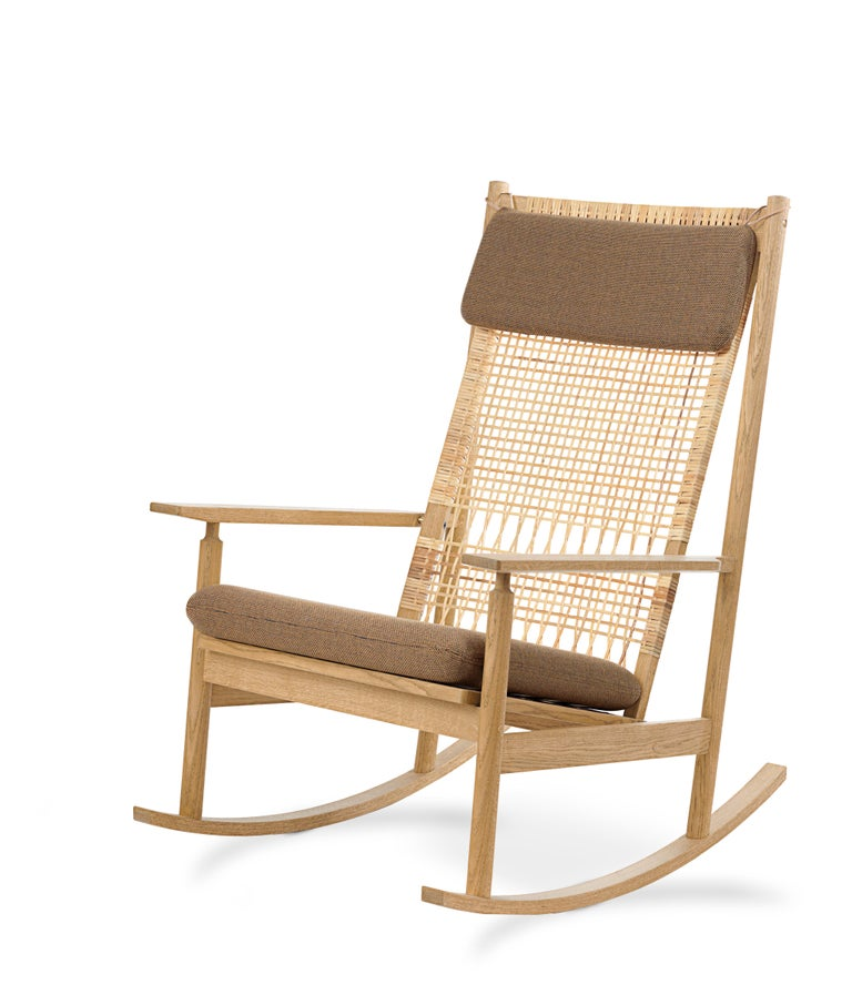 For Sale: Brown (Rewool 358) Swing Rocking Chair in Oak, by Hans Olsen from Warm Nordic 2