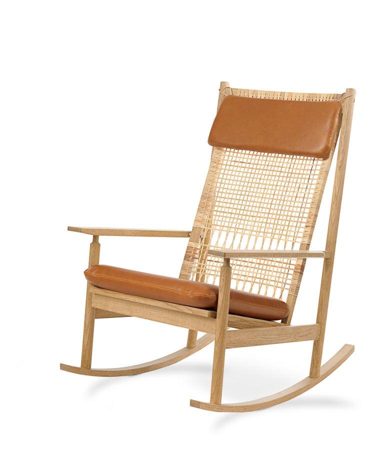 For Sale: Brown (Silk 0250) Swing Rocking Chair in Oak, by Hans Olsen from Warm Nordic 2