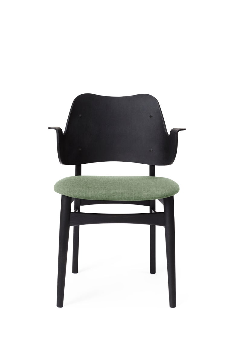 For Sale: Green (Canvas 926) Warm Nordic Gesture Monochrome Fully Upholstered Chair in Black, by Hans Olsen