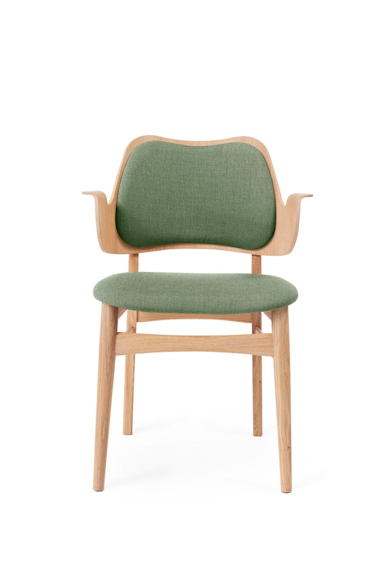 For Sale: Green (Canvas 926) Gesture Monochrome Fully Upholstered Chair in Oak, by Hans Olsen for Warm Nordic