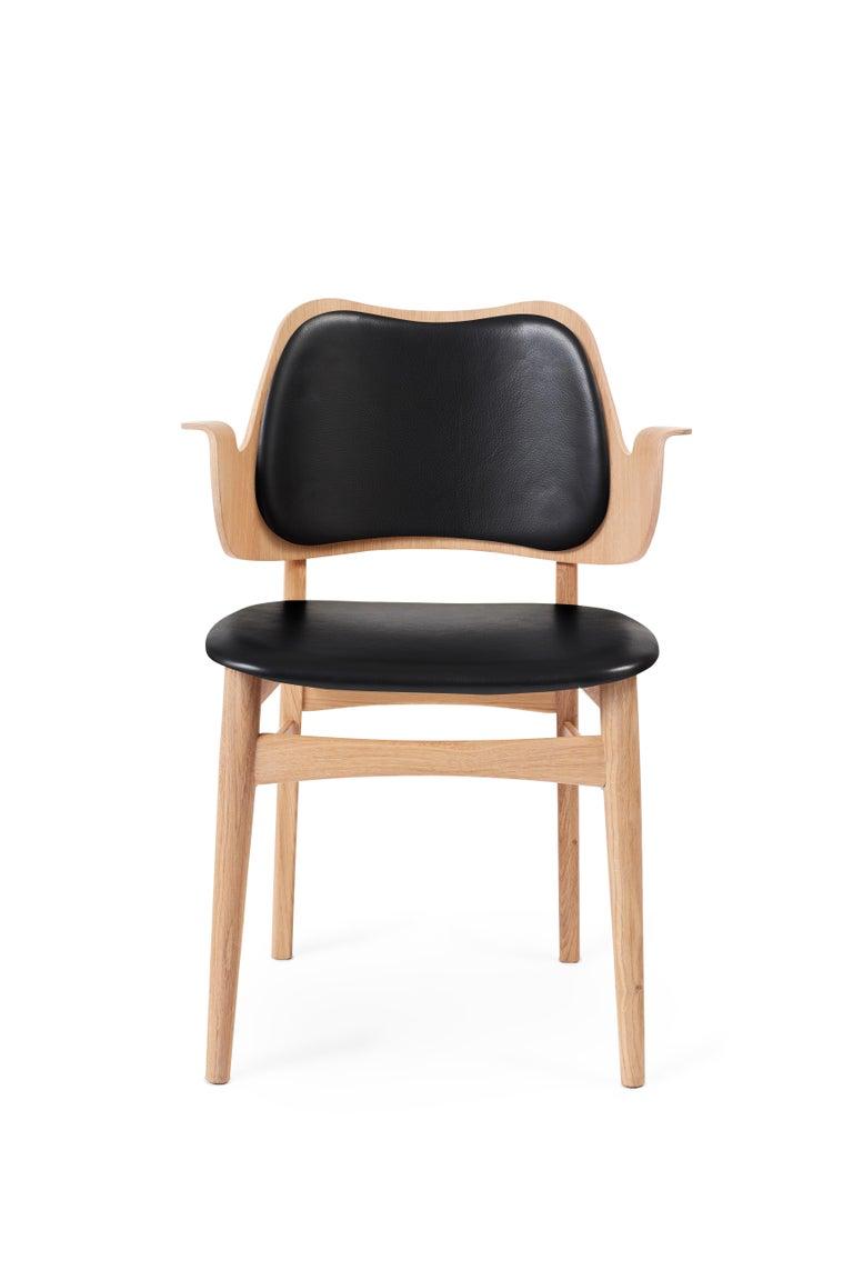 For Sale: Black (Prescott 207) Gesture Monochrome Fully Upholstered Chair in Oak, by Hans Olsen for Warm Nordic