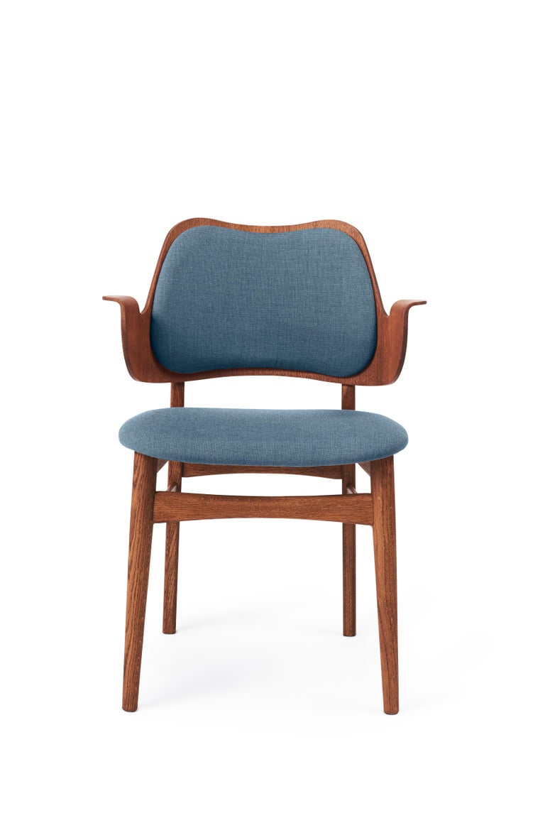 For Sale: Blue (Canvas734) Warm Nordic Gesture Monochrome Fully Upholstered Chair in Teak Oak, Hans Olsen