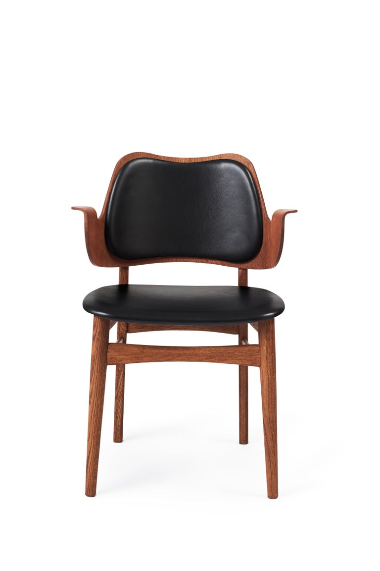 For Sale: Black (Prescot207) Warm Nordic Gesture Monochrome Fully Upholstered Chair in Teak Oak, Hans Olsen