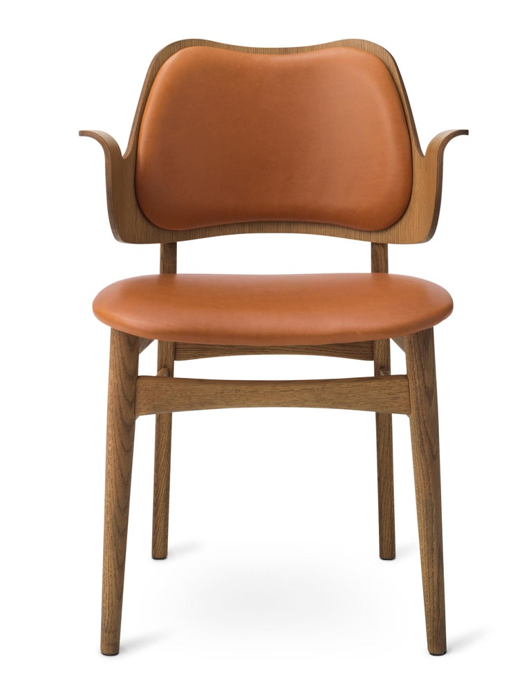 For Sale: Brown (Silk 0250) Warm Nordic Gesture Monochrome Fully Upholstered Chair in Teak Oak, Hans Olsen