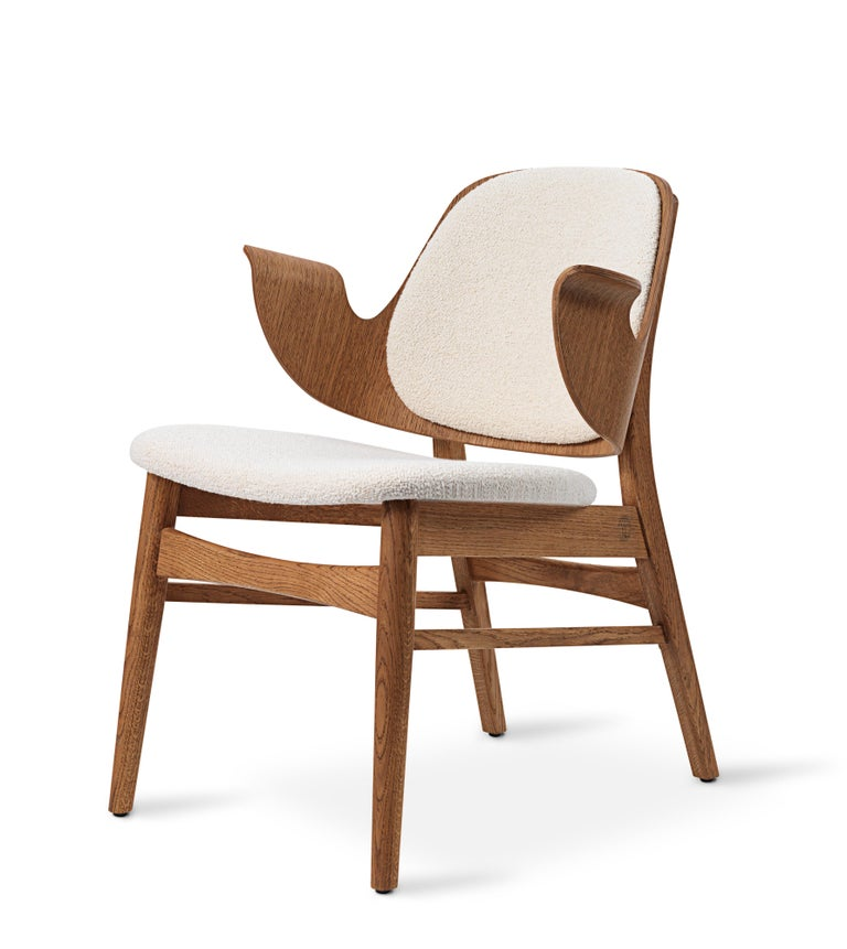 For Sale: White (Barnum 24) Warm Nordic Gesture Monochrome Fully Upholstered Lounge Chair in Teak Oak 2