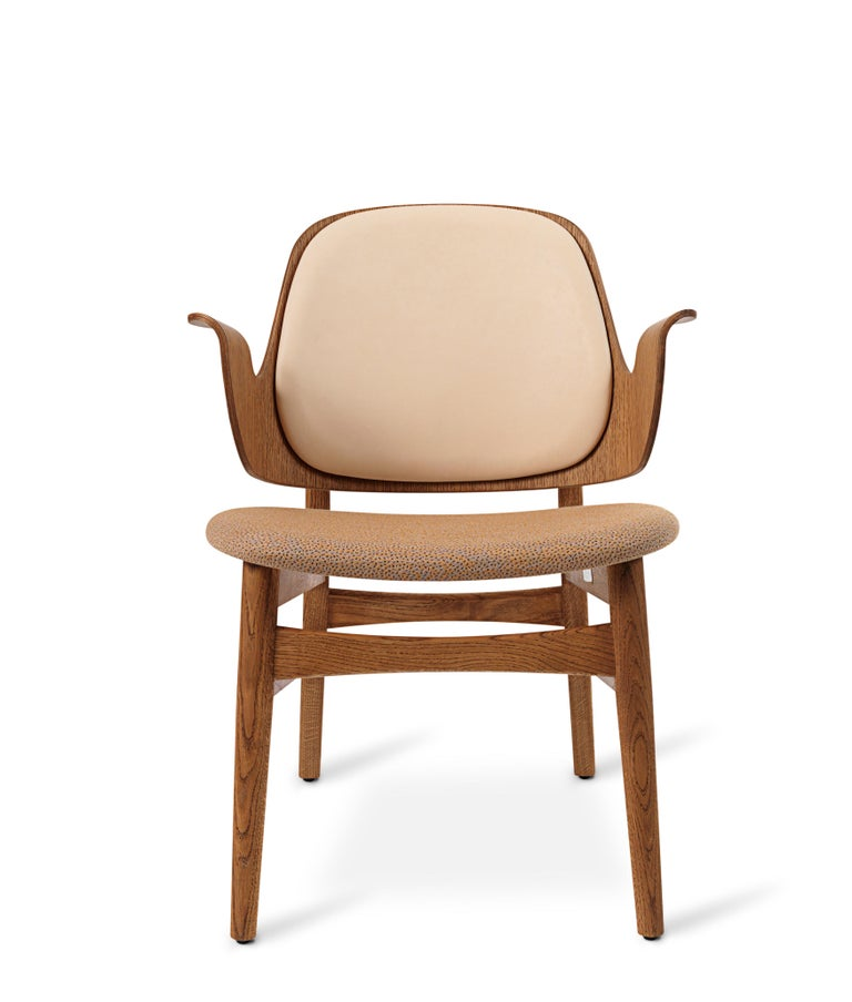 For Sale: Beige (Vegetal/Sprinkles254) Warm Nordic Gesture Monochrome Fully Upholstered Lounge Chair in Teak Oak