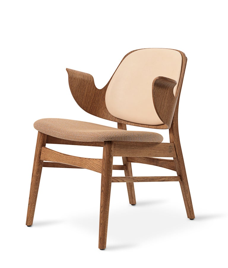 For Sale: Beige (Vegetal/Sprinkles254) Warm Nordic Gesture Monochrome Fully Upholstered Lounge Chair in Teak Oak 2