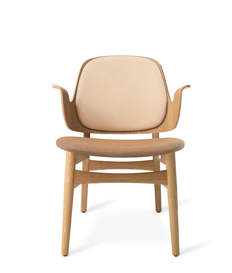 For Sale: Beige (Vegetal/Sprinkles254) Gesture Monochrome Fully Upholstered Lounge Chair in Oak, by Hans Olsen