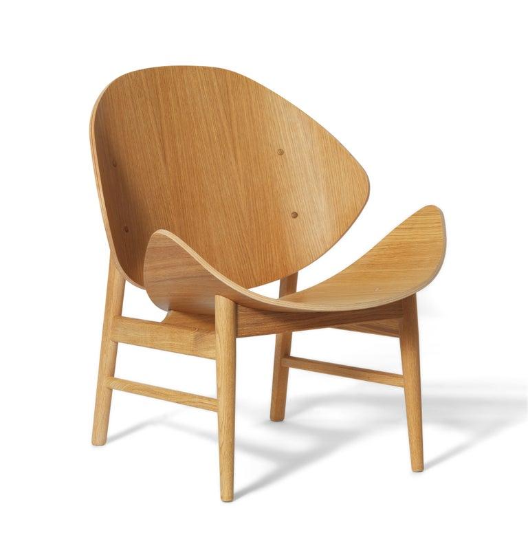 For Sale: Beige (Oak) Orange Lounge Chair in Pure Wood, by Hans Olsen from Warm Nordic