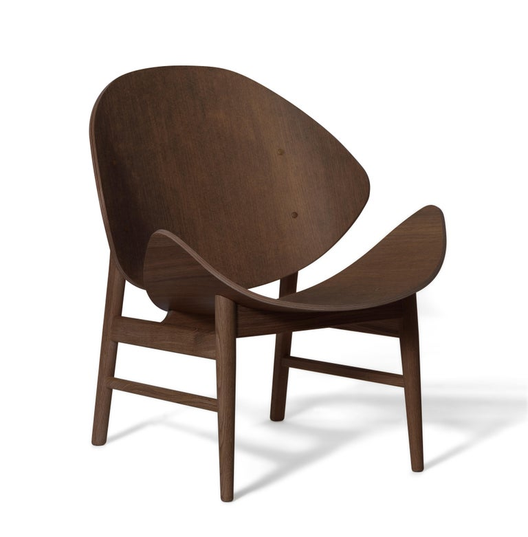 For Sale: Brown (Smoked Oak) Orange Lounge Chair in Pure Wood, by Hans Olsen from Warm Nordic