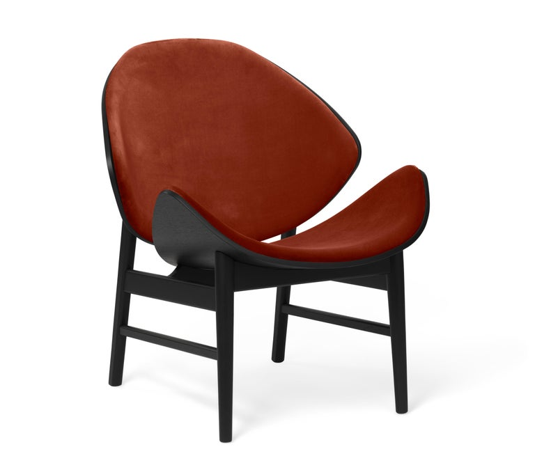For Sale: Red (Ritz 3701) Orange Monochrome Lounge Chair in Black Oak with Upholstery, by Hans Olsen