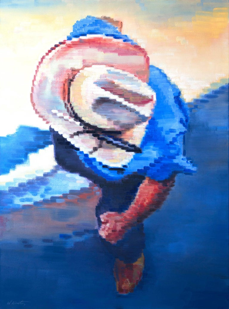 Cowboy Going into a Bar in Santa Fe Warren Keating Oil painting on stretched can