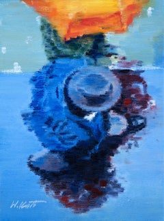 People in Motion: Couple Under Orange Umbrella Warren Keating Oil painting on st