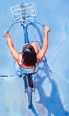Woman Bicycling on a Summer Day Warren Keating Oil painting on stretched canvas