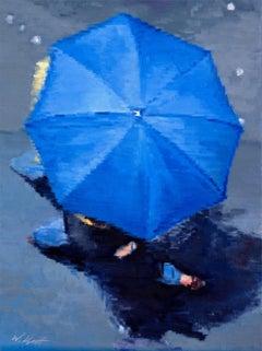 Parisian Couple under Blue Umbrella in Paris Rain