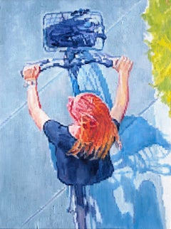 Aerial View of Strawberry Blonde Riding Bicycle
